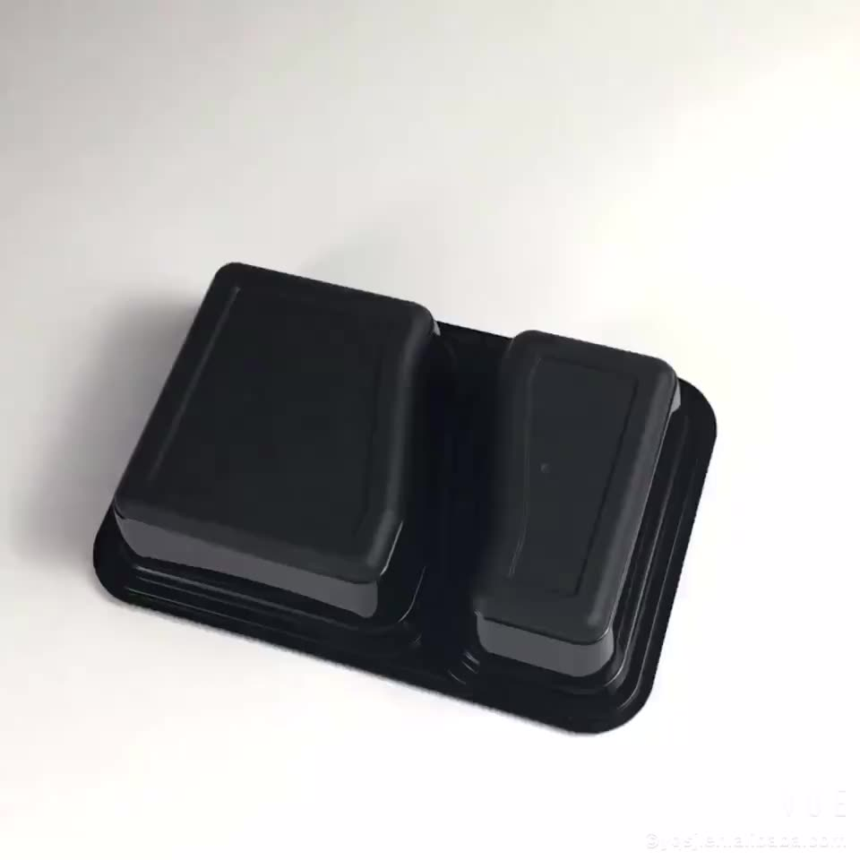 Reusable food grade plastic meal prep 2 compartment container with lid