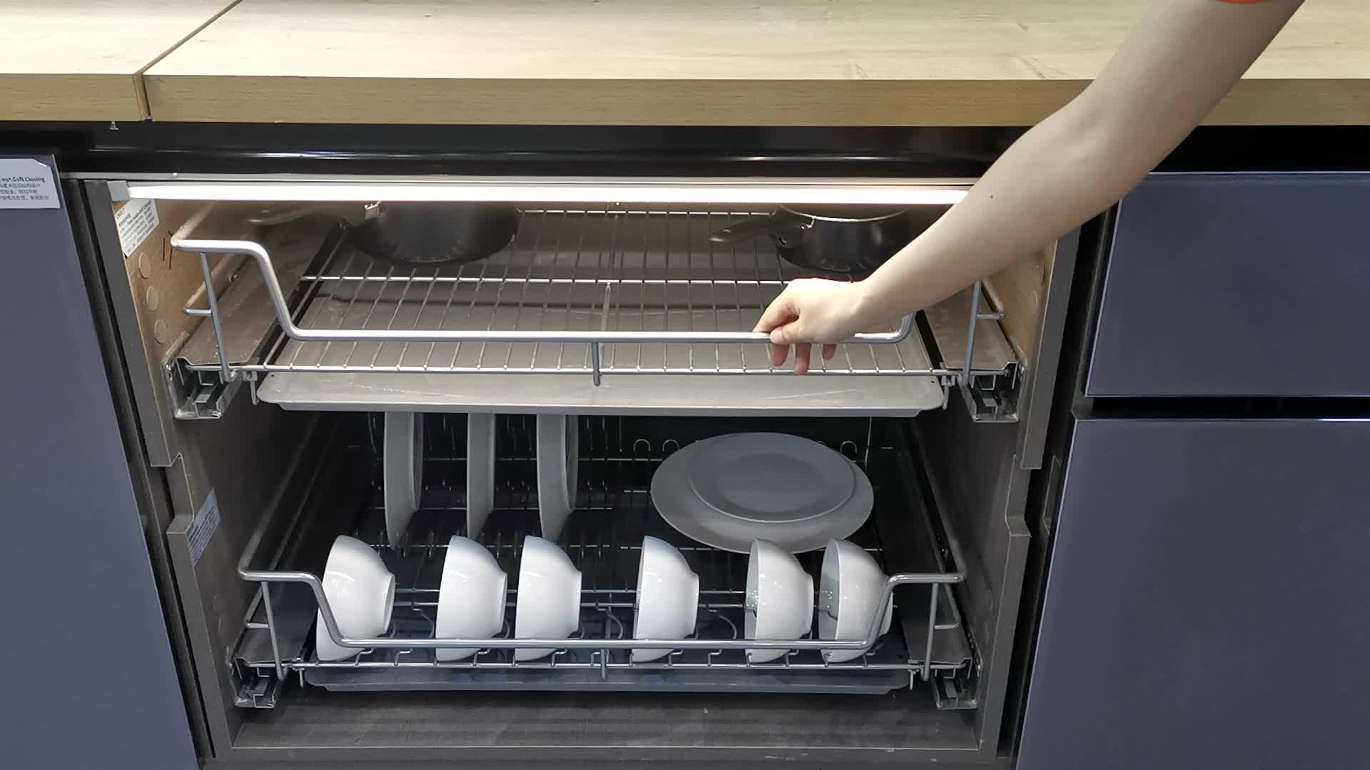 Armadio da cucina pull out cremagliera di piatto di 4 lati cremagliera di piatto dispensa organizzatore