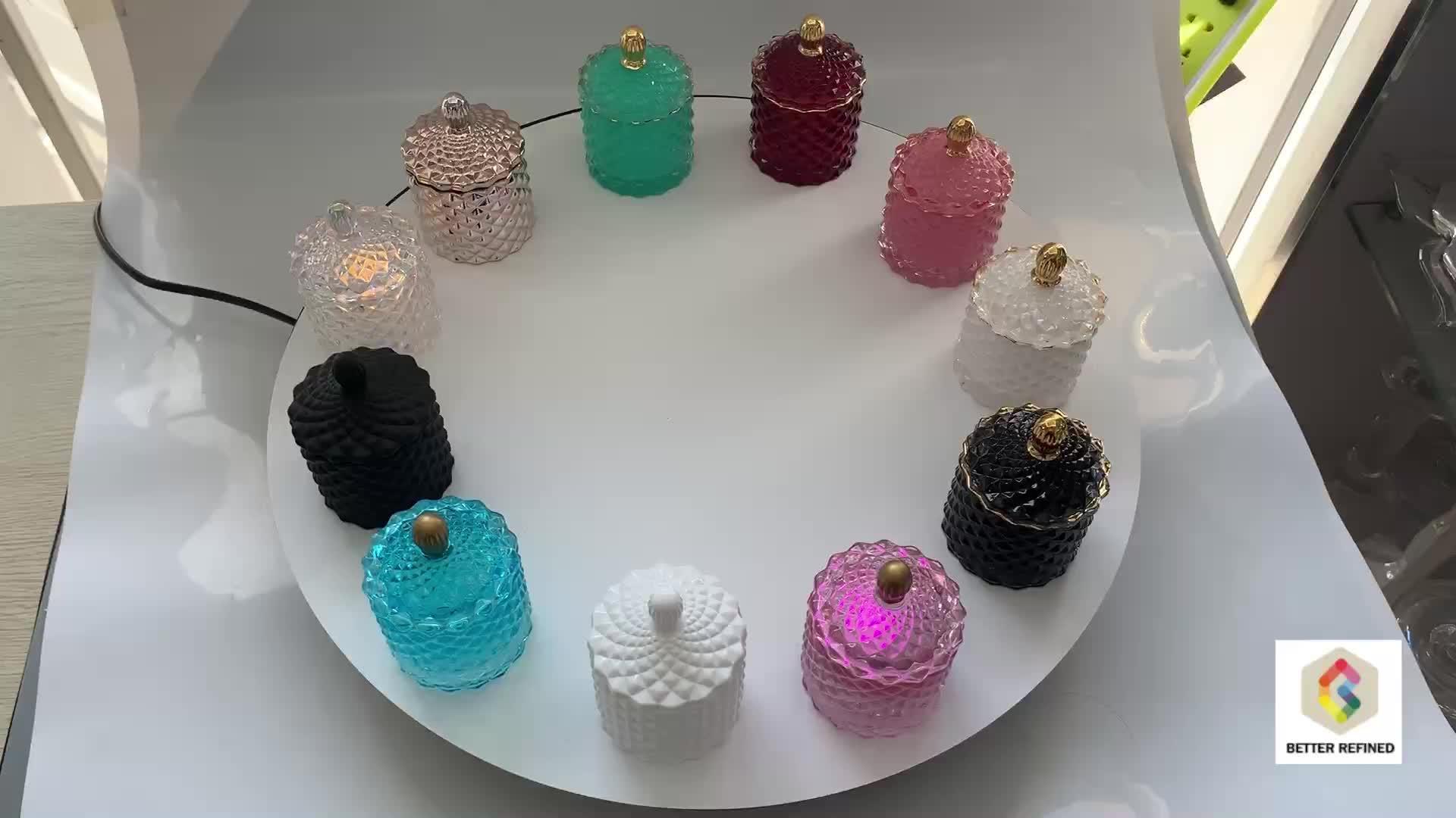 Thủy tinh nhỏ kim cương có hình dạng jar cho ngọn nến làm với nắp kính tinh thể thủy tinh kẹo jar với nắp đặt của 3 BR