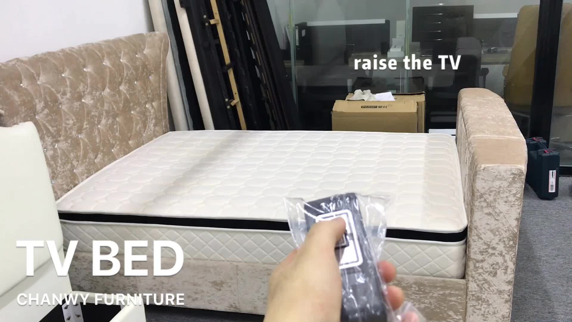 מכירה לוהטת קלאסי גילוף מודרני מיטה עם טלוויזיה עבור wholesales חכם מיטה עם טלוויזיה מתכווננת טלוויזיה מיטת