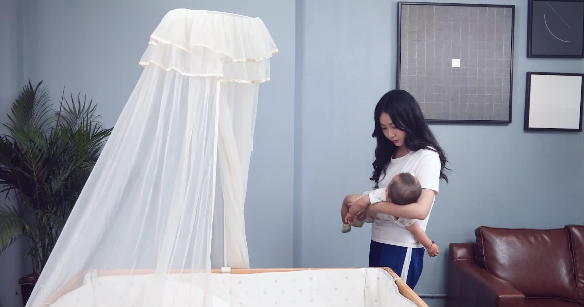 HOUSBAY Yüksek Kaliteli % 100% Naylon Beşik bebek yatağı Yuvarlak Gölgelik sivrisinek ağı ve bebek yatağı ding Sivrisinek Perde kurulumu Kolay