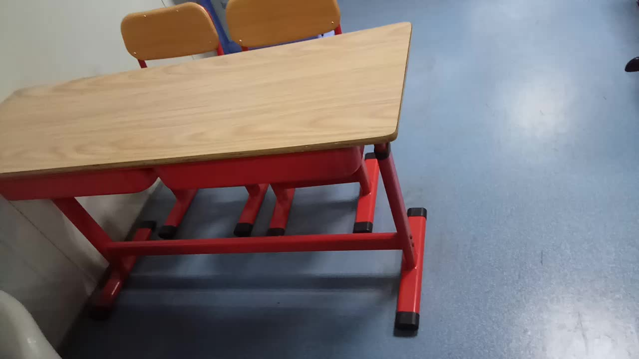 2 seat detachable school furniture adjustable height desk chair for classroom