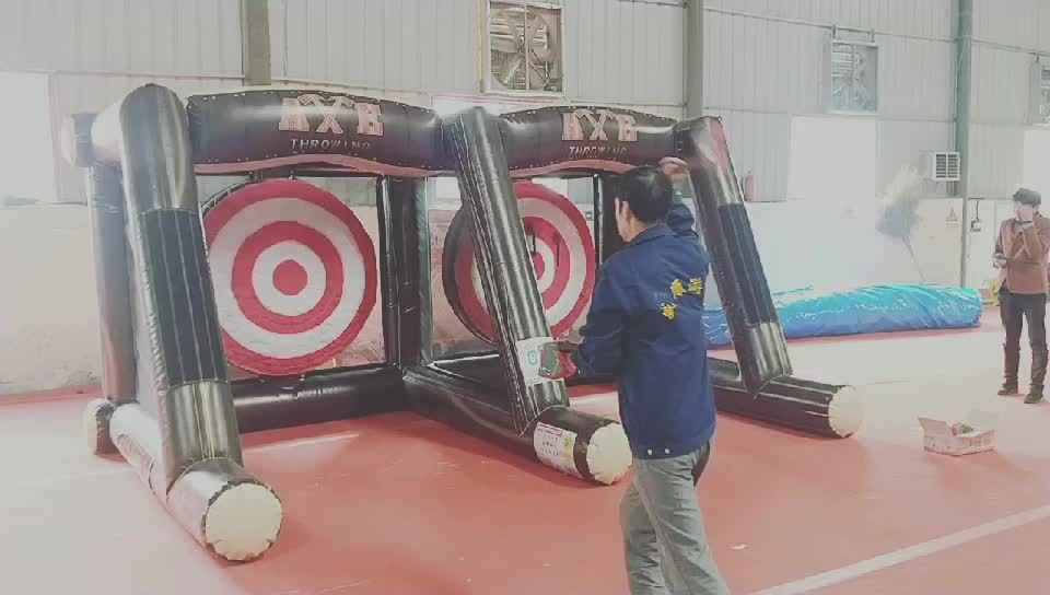 2019 new design carnival inflatable axe throw dart game for sale, Axe Throwing Double Lane Inflatable Sport Game Axes Toys