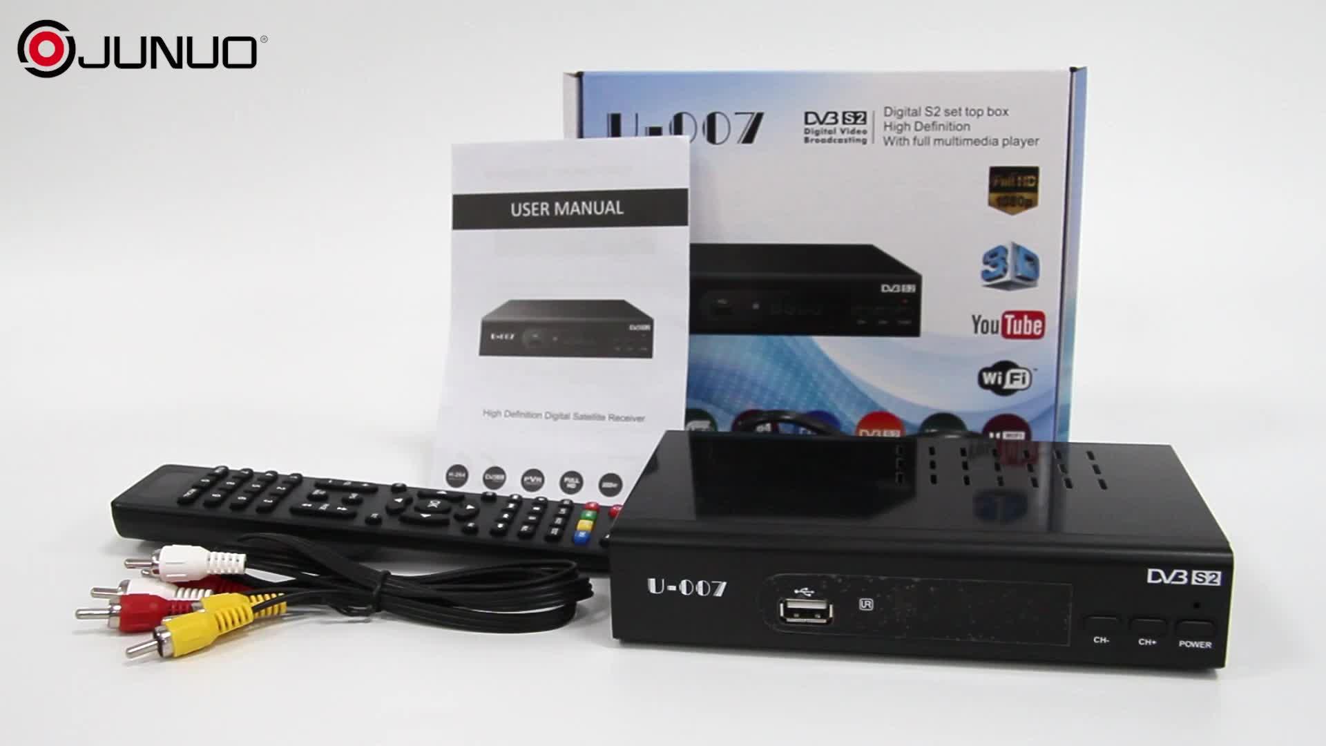 Shenzhen junuo fabricant dvb-s2 mini hd récepteur de télévision par satellite internet récepteur satellite numérique