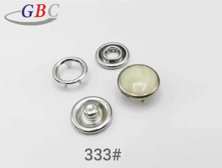 12MM metal round prong pearl snap button with yellow white pearl