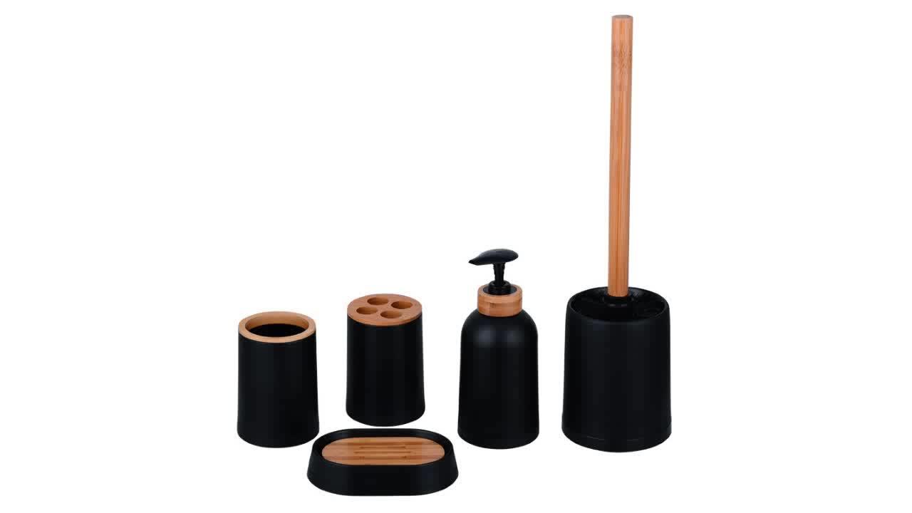 wholesale price eco-friendly round bamboo plastic bathroom set accessories - buy black bamboo