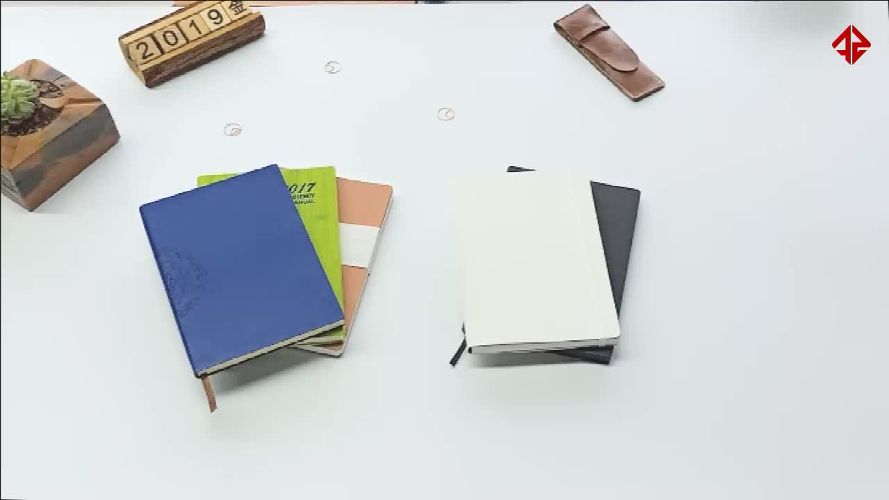 Personalized black pu leather planner notebook with calendar