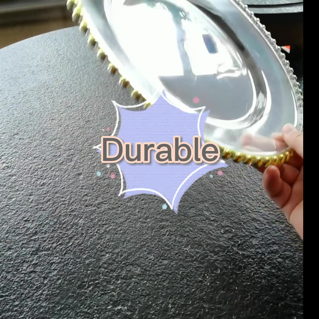 Wholesale cheap 13'' gold beaded plastic charger plate for wedding
