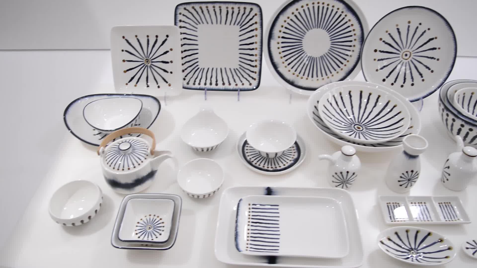 P&T Royal Ware new design tableware set porcelain color ceramic japanese restaurant tableware