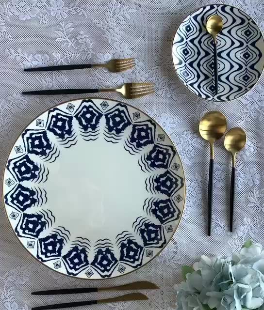 פנסי 12 אינץ כחול עם זהב רים מטען צלחת עצם סין ארוחת ערב סט קרמיקה צלחות לבית חתונה
