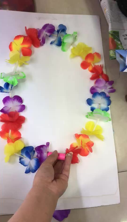 Hot Selling  Led Hawaiian Beach Party Hula Garland Leis Necklace Hawaii Football Fans Flower Necklace