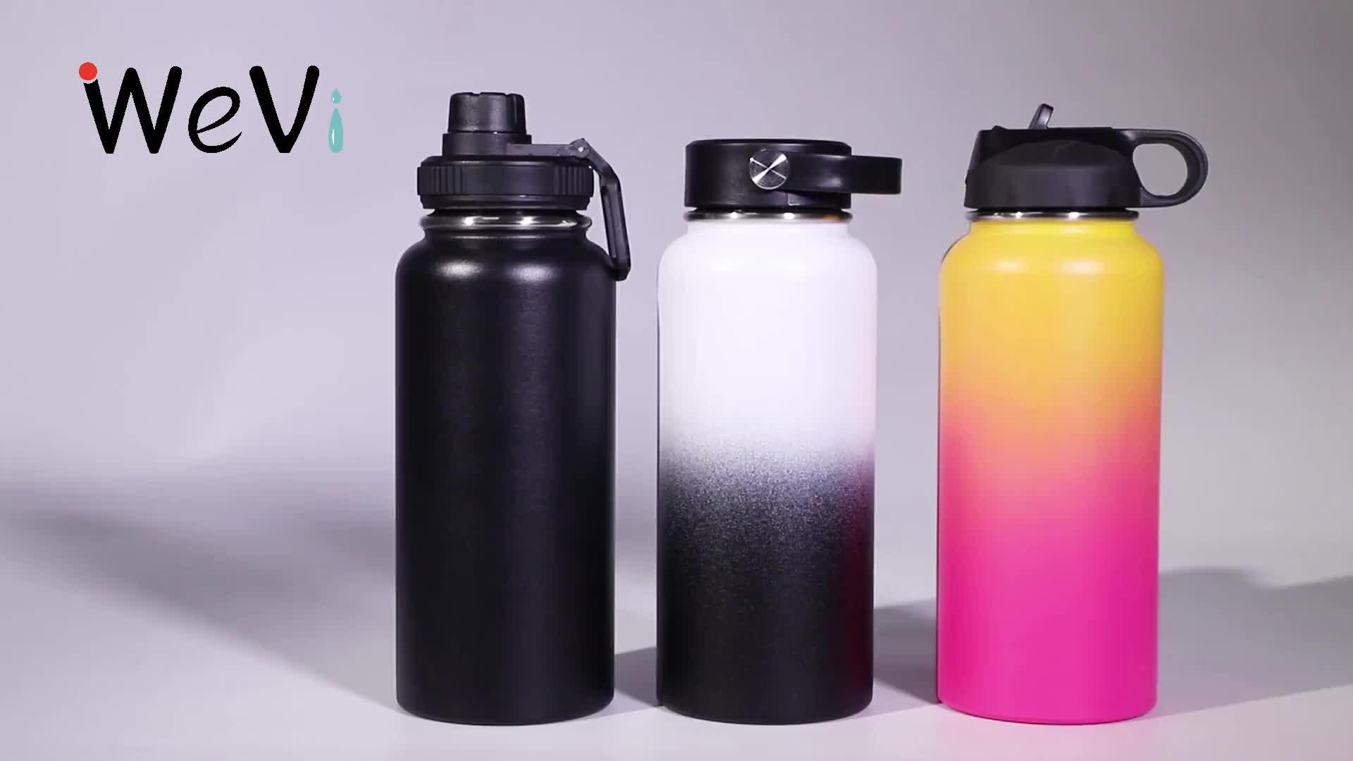 Wevi 高品質二重壁真空断熱ステンレス鋼スポーツウォーターボトルわらと卸売