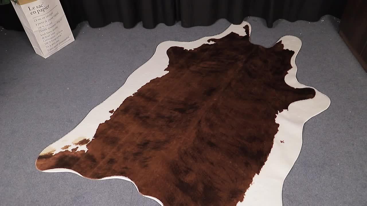 2019 più caldo di alta qualità 100% poliestere faux della pelliccia della pelle bovina tappeto tappeto per la casa