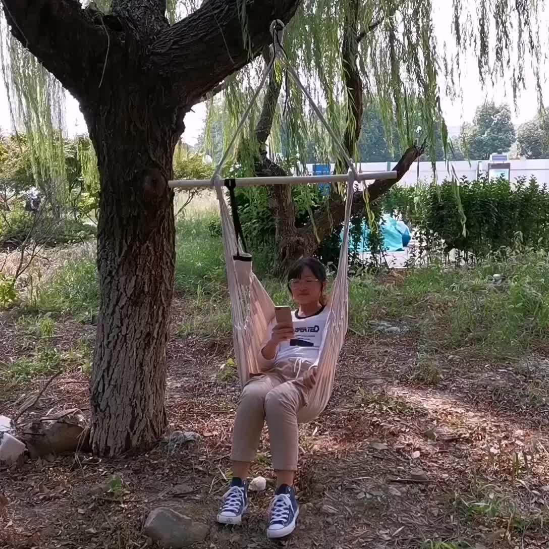 Heißer verkauf baumwolle seil hängen hängematte stuhl mit holz bar