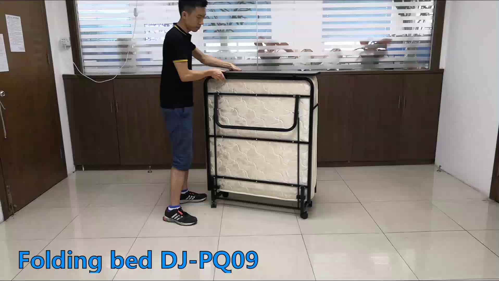 space saving movable metal bed folding cot with mattress and headboard metal folding bed DJ-PQ09