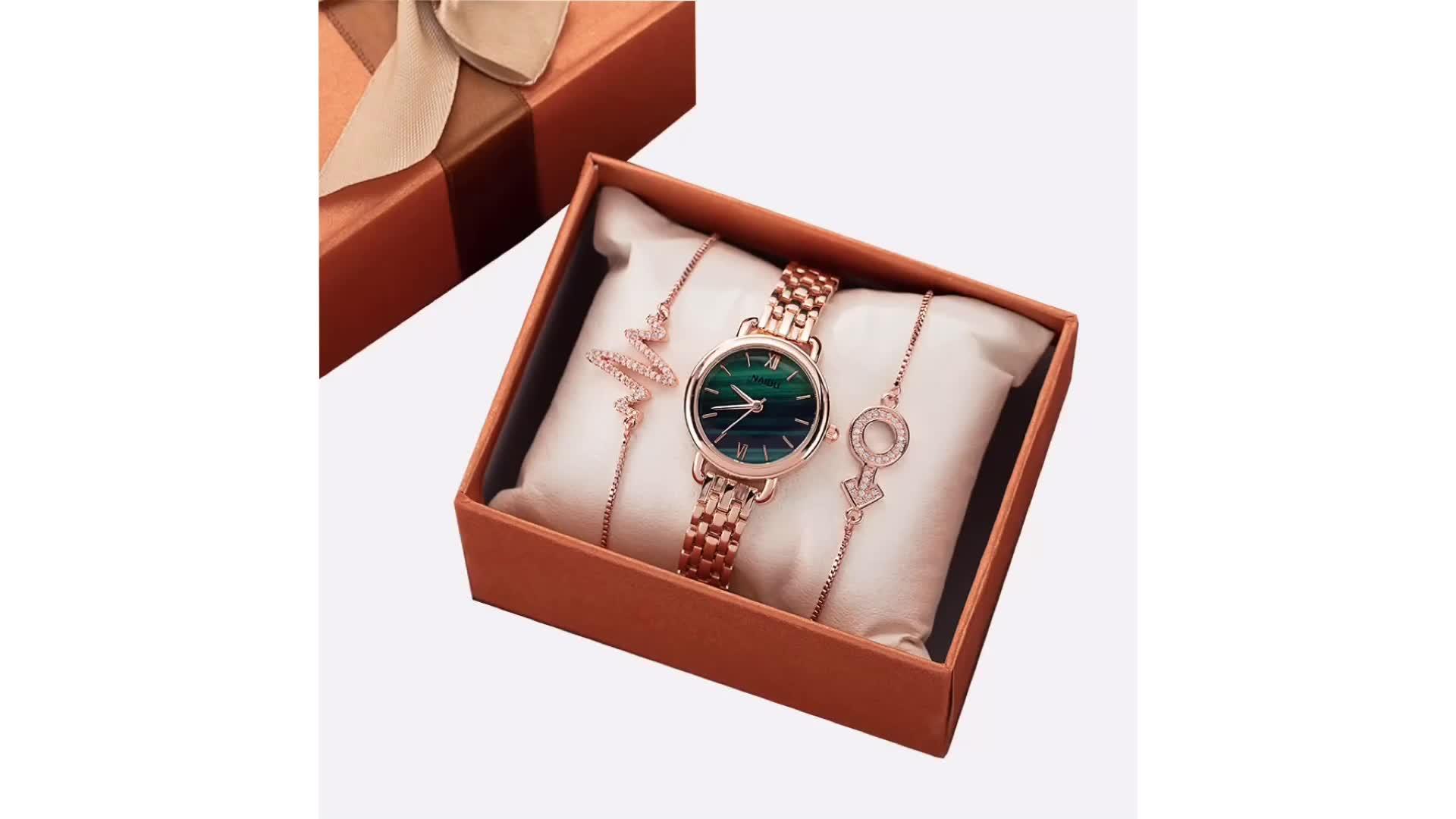 קוורץ אופנה חדשה הפופולרי ביותר גבירותיי שעון מתנה סטי נשים צמידי ולצפות סט