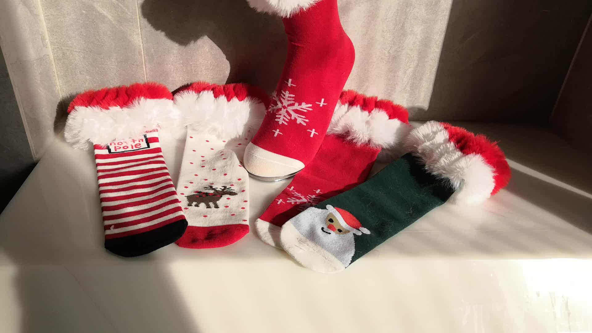Christmas Snowflake Santa clause วันแม่ฝ้ายคริสต์มาส Boot ถุงเท้าขนสัตว์