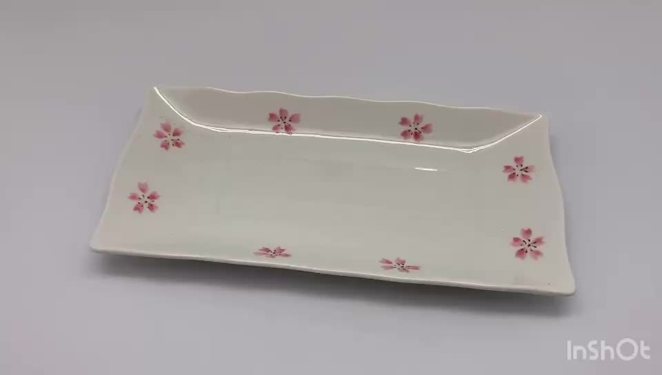 24cm Japanese Square Sushi Plate Ceramic Plate Dinner Pink Sakura Dishes Plate Ceramic By Coloured Drawing