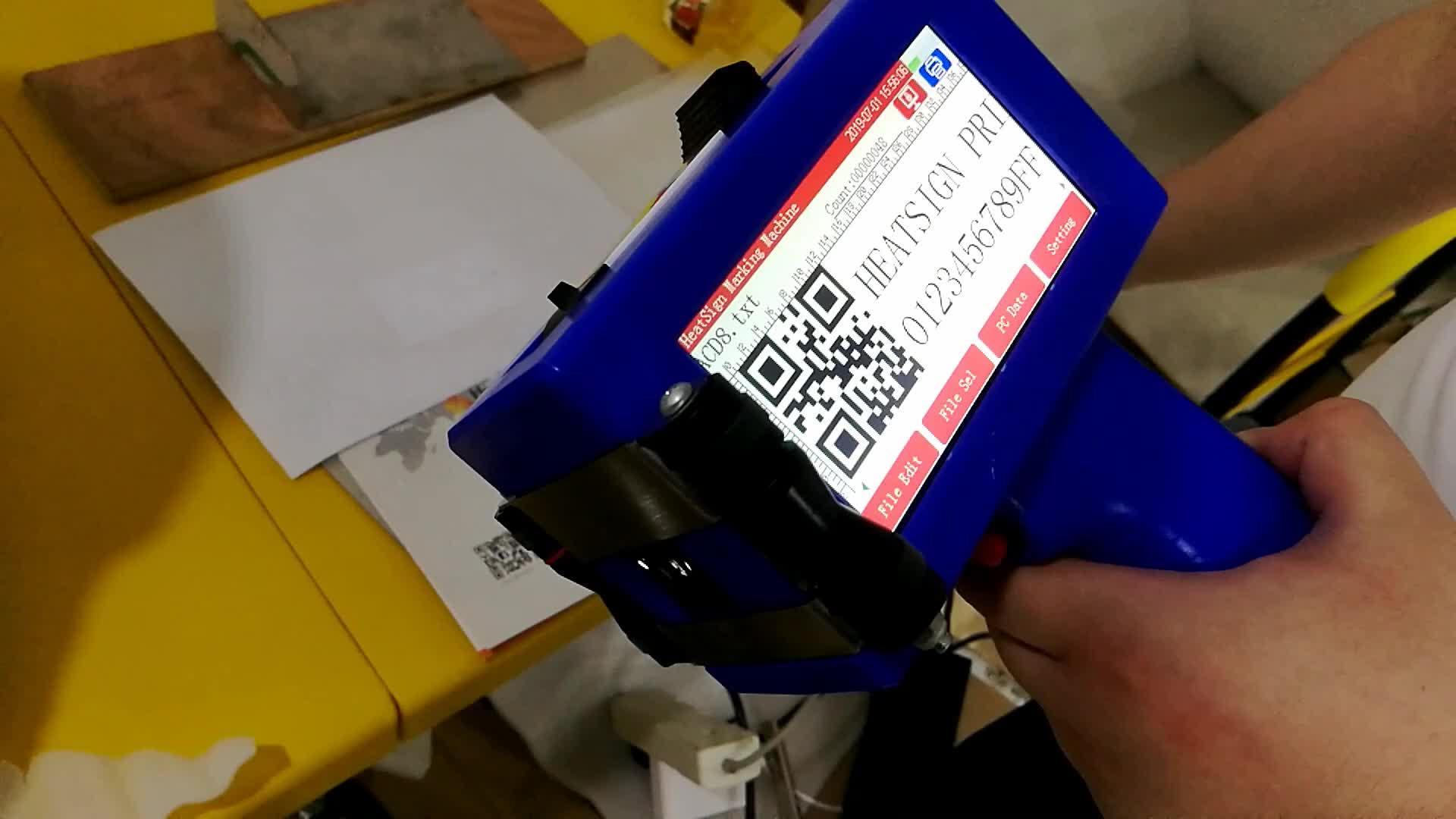 อัจฉริยะแบบพกพา Inkjet เครื่องพิมพ์สำหรับพิมพ์โลโก้หมายเลขวันหมดอายุ QR รหัส