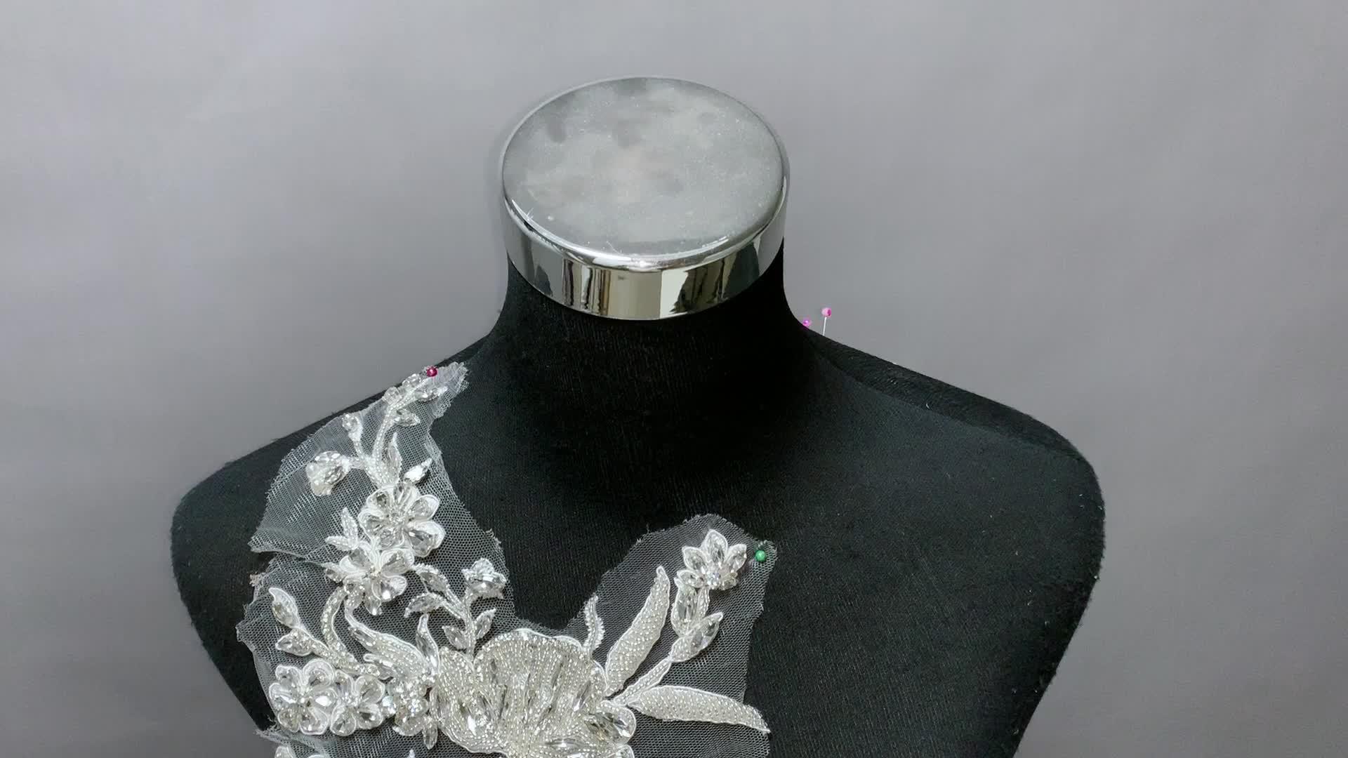 Original handmade sew on beaded bridal sequin sash hotfix rhinestone bodice neckline crystal rhinestone applique