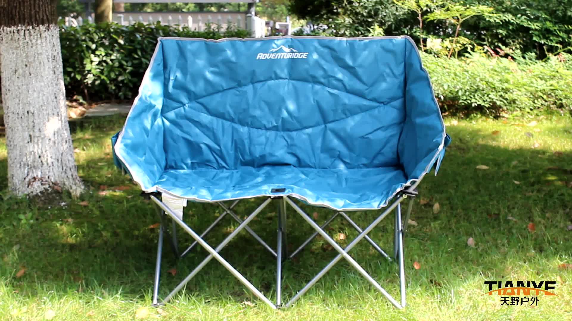 Tianye outdoor loveseat folding camping chair furniture metal portable double Folding Chair with Cup Holder