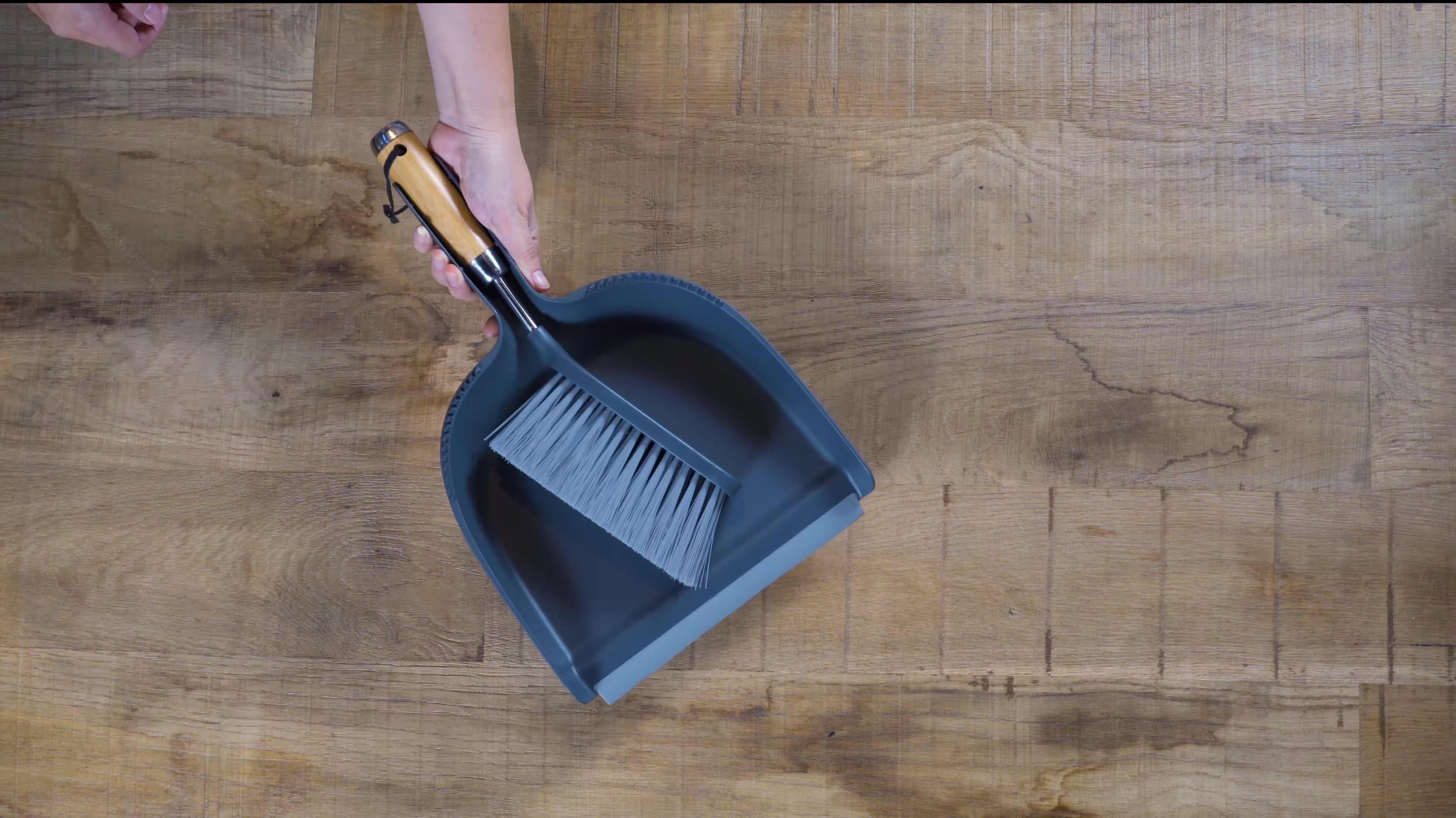 Masthome eco friendly Bamboo table broom Handle Desktop Sweep Cleaning Brush Stainless Steel Broom Dustpan Set