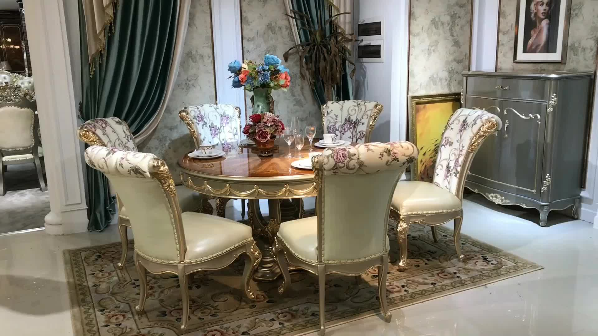Luxury Wood Carved Arabic Dining Table With 6 Pcs Gold Dining Chairs In  Dining Room - Buy Arabic Dining Table,Gold Dining Chair,Wood Dining Room  Table ...