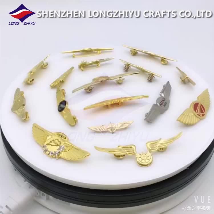 Longzhiyu 12 anos fabricante profissional personalizado metal asa emblemas pinos de lapela de ouro com borboleta de embreagem para presente decoração