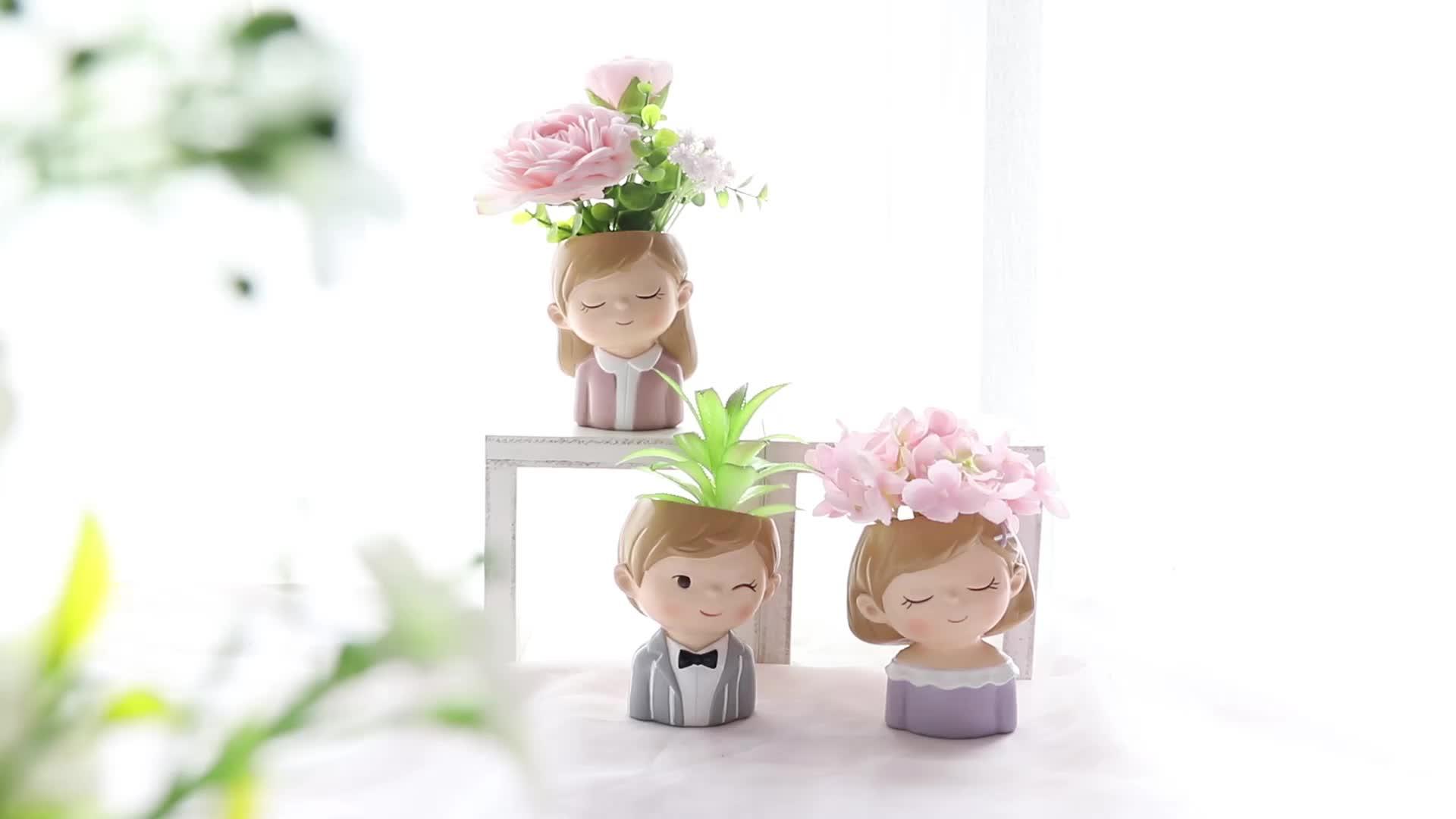 Roogo राल रचनात्मक सजावट गार्डन फूल के बर्तन