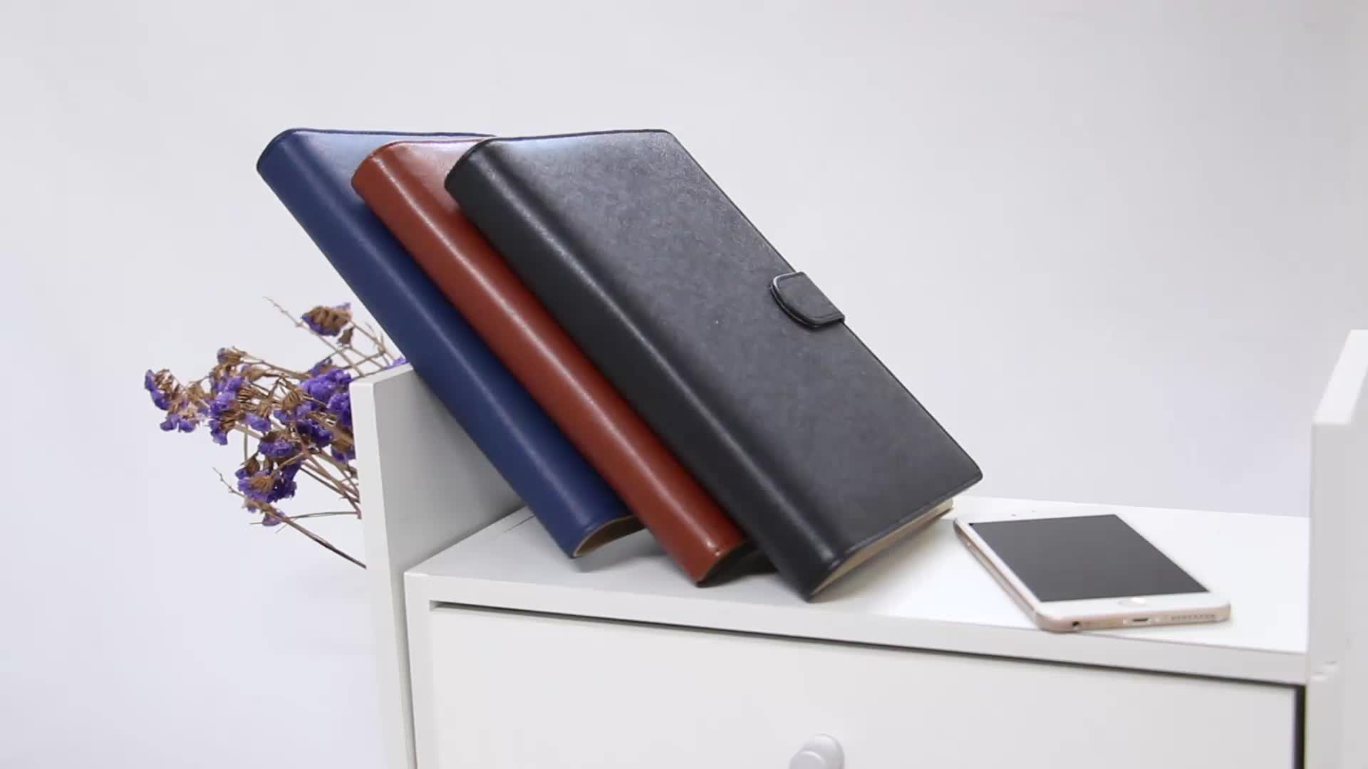Personalized USB charging treasure business pu leather journal custom composition luxury power bank notebook