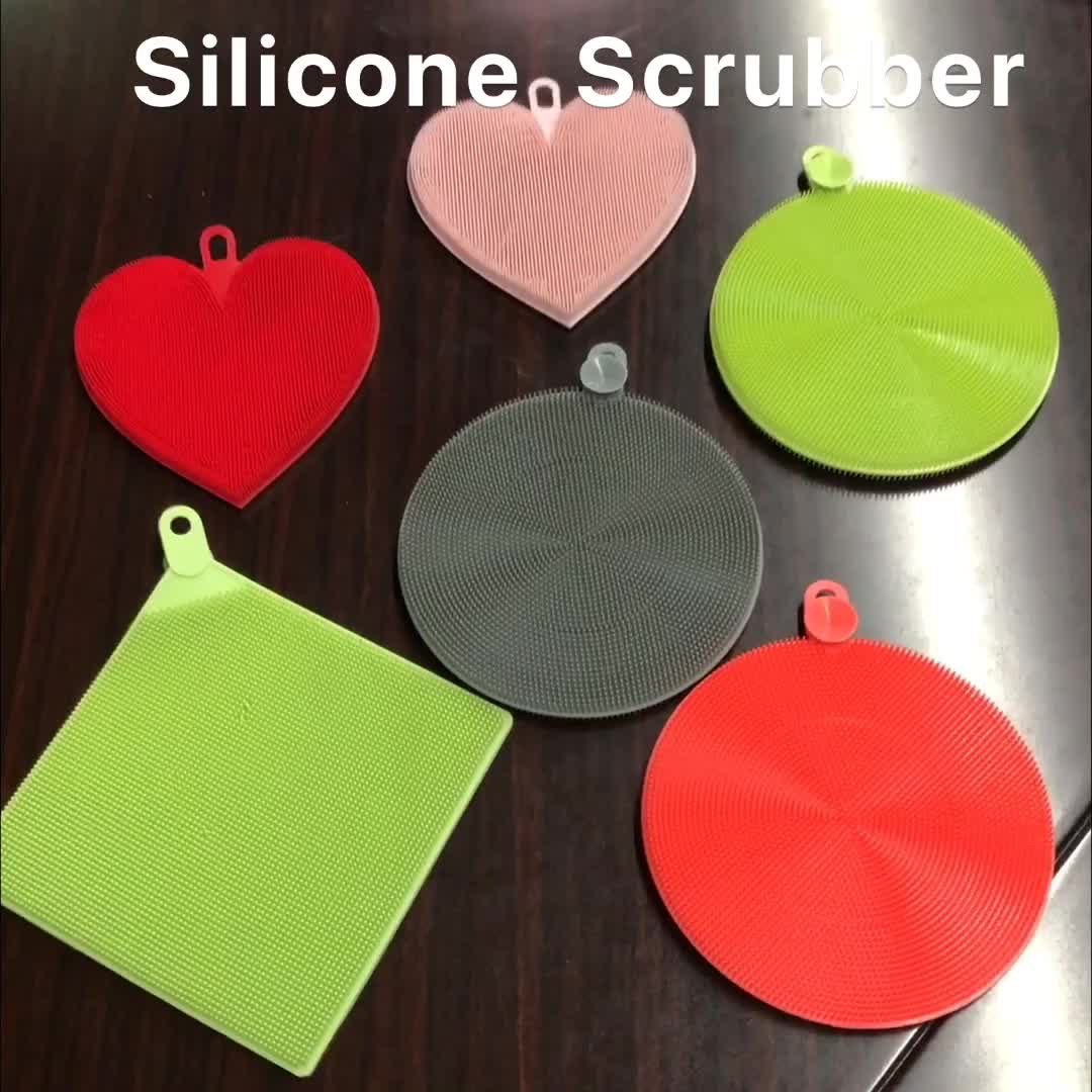 Горячие силиконовые кухонная губка для мытья посуды поломоечных щеток, набор, круглая, квадратная, овальная форма
