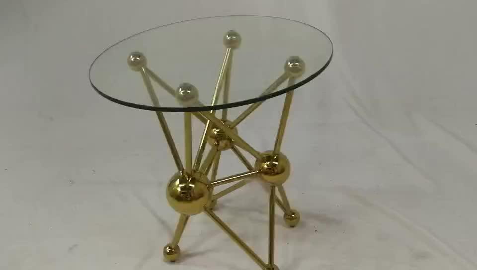 HT019 家庭用品リビングルーム安いファンシー現代強化ガラストップミラーラウンドゴールドステンレス鋼スターサイドテーブル