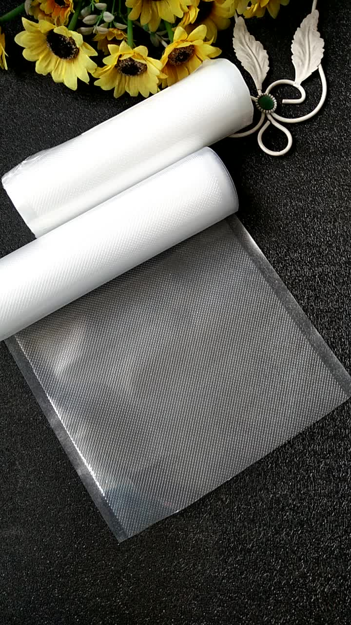 Embossed vacuum plastic frozen food vaccum bag roll for sea food,fruits and rice