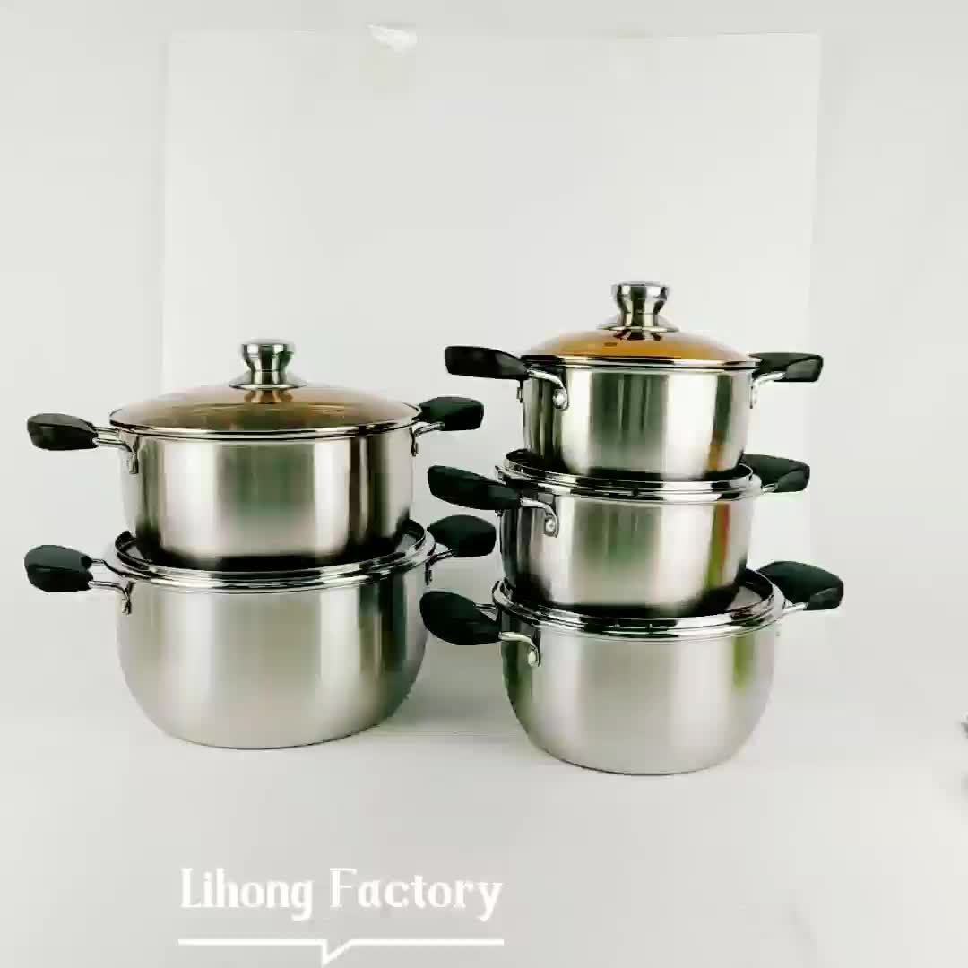 cookware set with glass lid Soup Pot 10pcs Stainless Steel stockpot sets