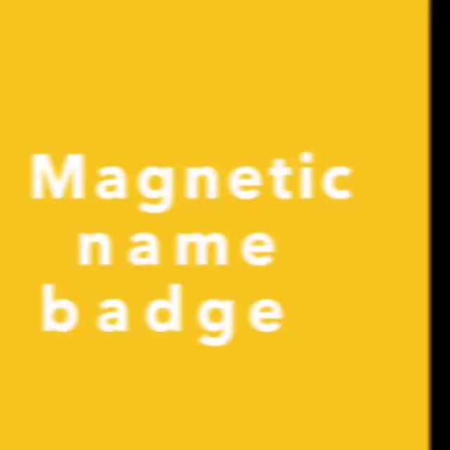 Strong bar magnets pin plastic magnetic reusable name badge with magnet