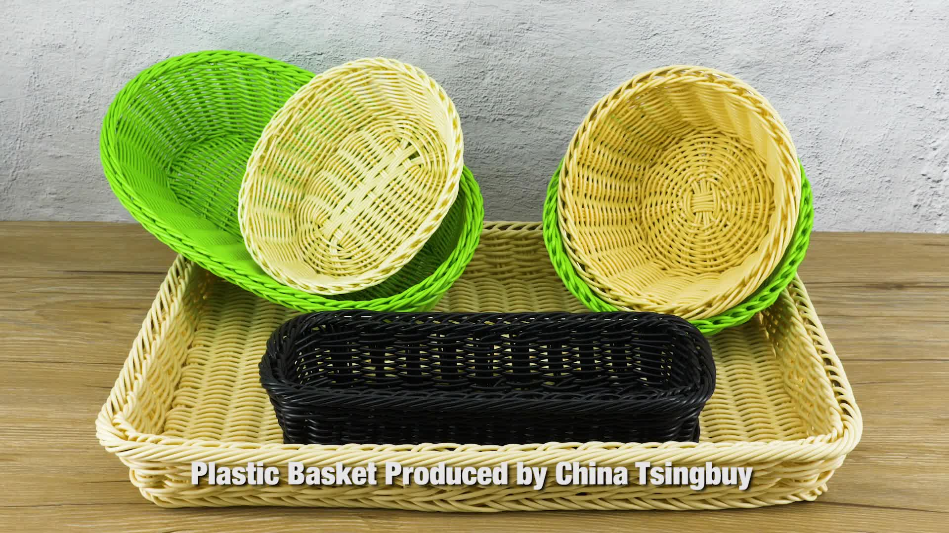 Handcraft Plastic rattan wicker storage basket