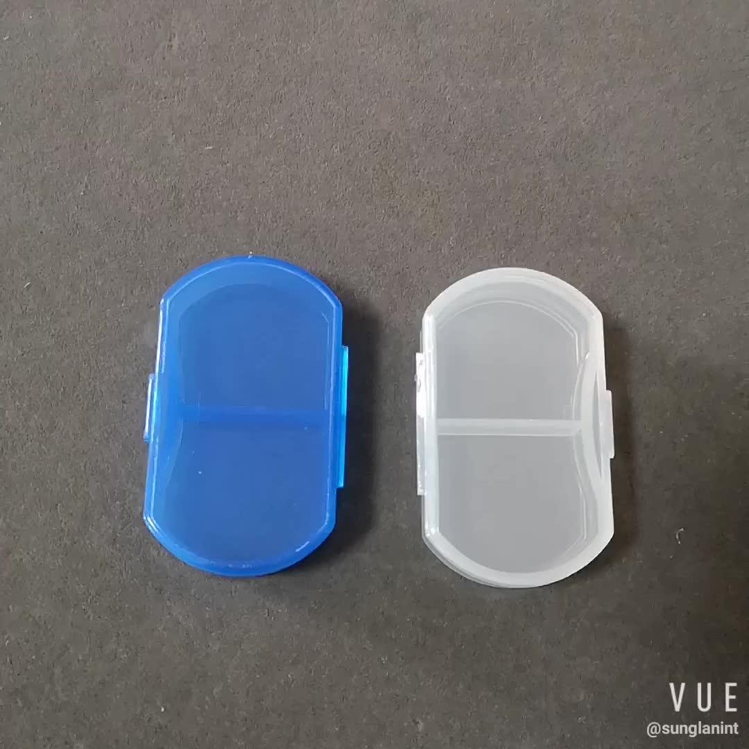 2 compartments plastic mini am pm pill box case