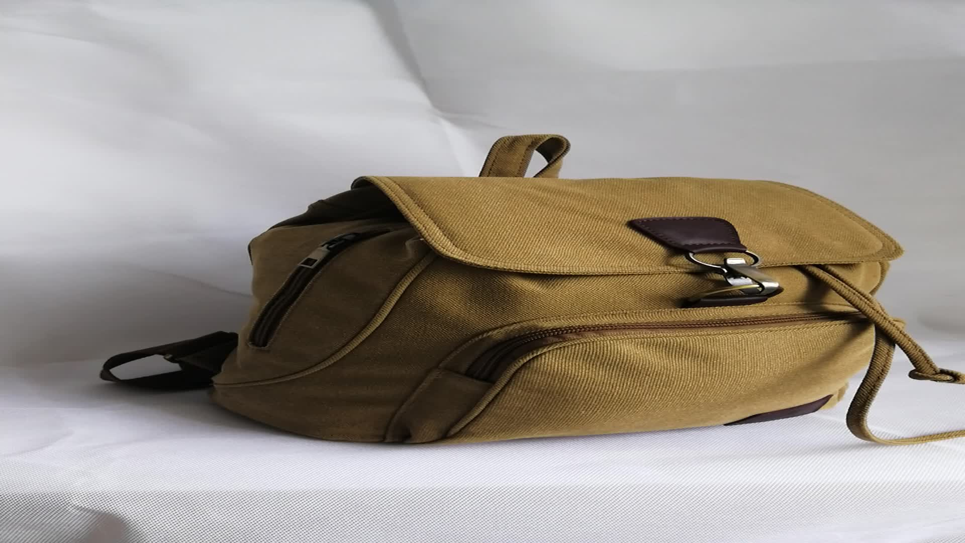 Oversize Brown Canvas Trendy New Design Fashion Backpack For Students