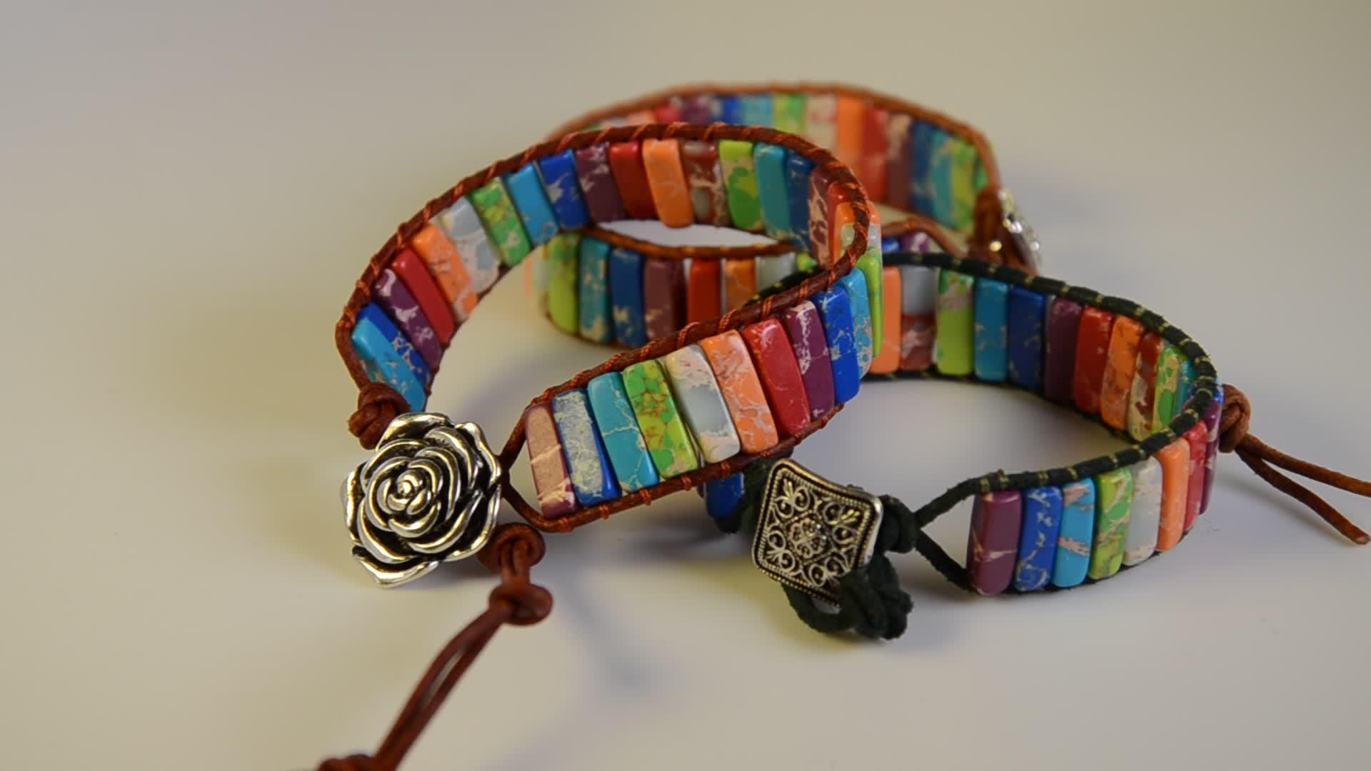 Богемия ручной работы трубки натуральный камень бусины Кожа обёрточная бумага чакра браслет