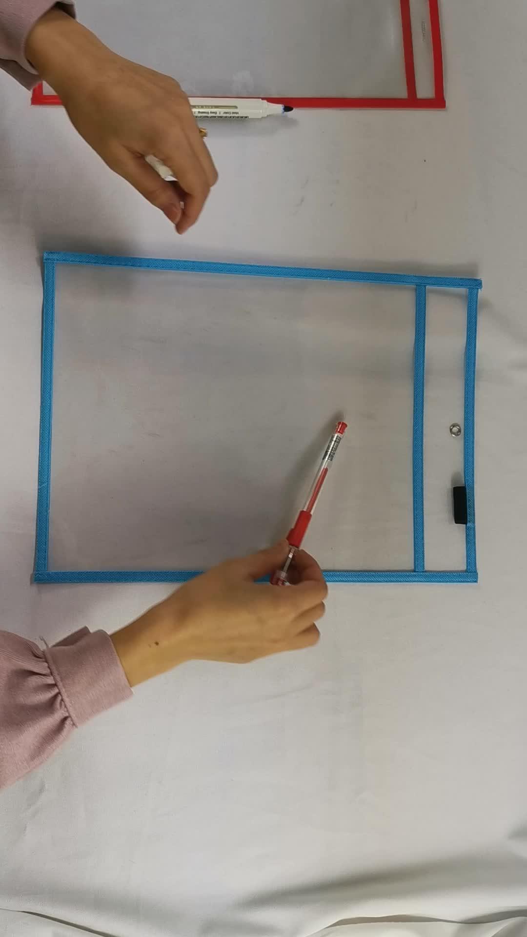 Oversize Classroom Home Clear PVC Transparent Reusable Dry Erase Pockets