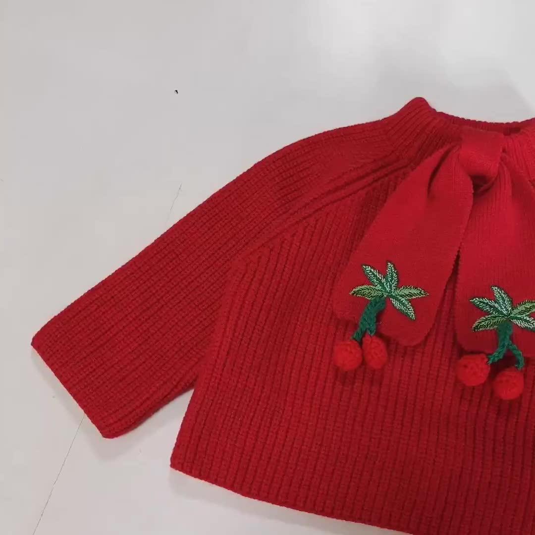Neuester Entwurf scherzt handgemachte gestrickte Baby Weihnachtsstrickjacke der Wolle mit Stickerei für Mädchen