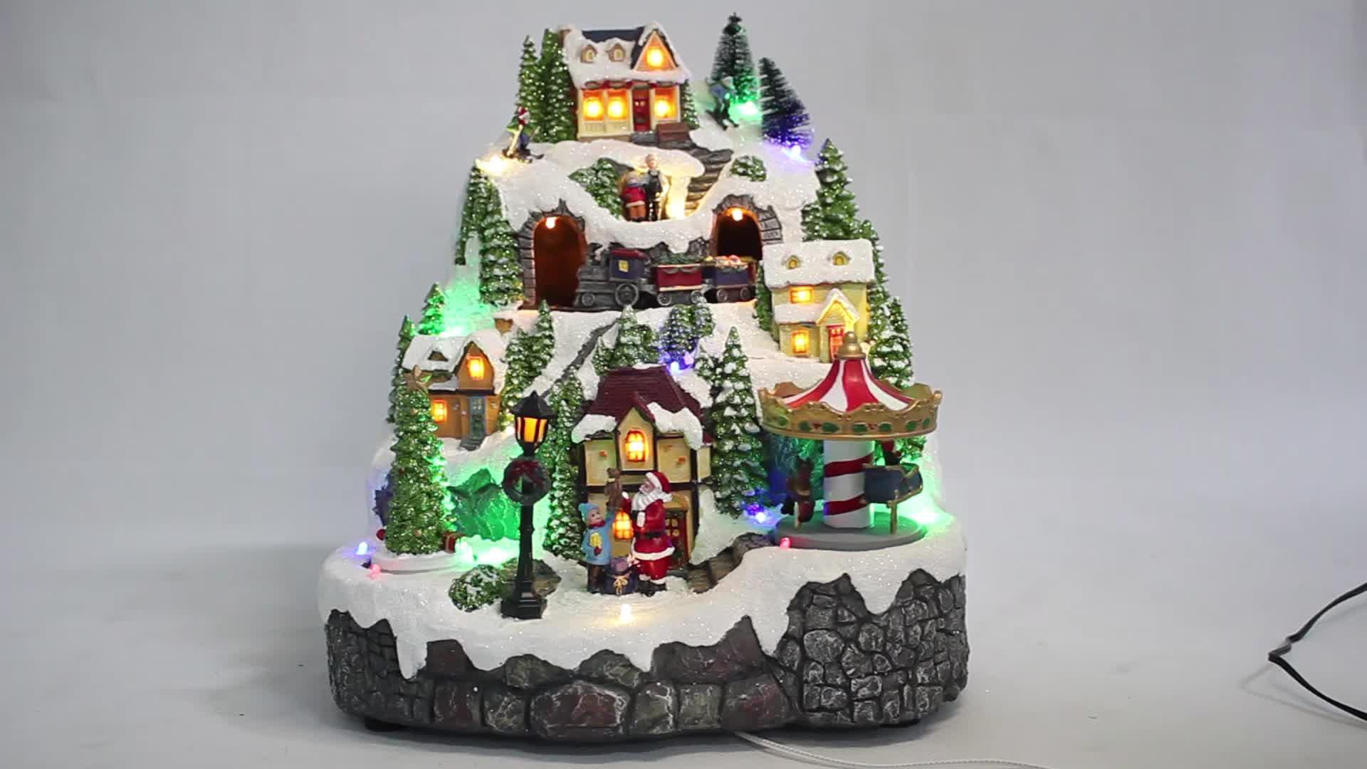 Custom magic eco lo wes polyresin lemax animierte led musical zug Weihnachten dorf haus