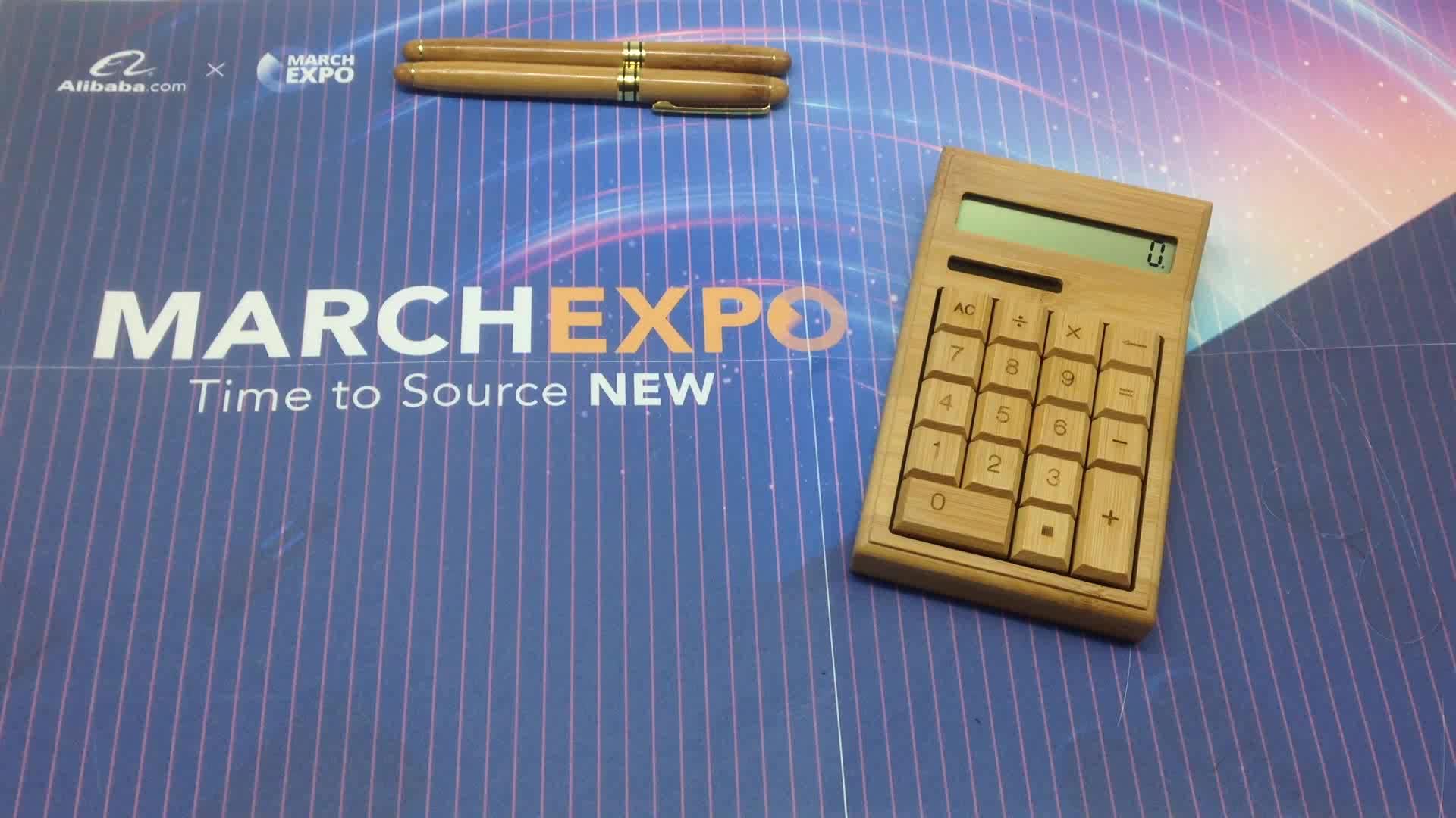 Custom Milieuvriendelijke bamboe producten 12 Digits calculator voor kantoor tafel
