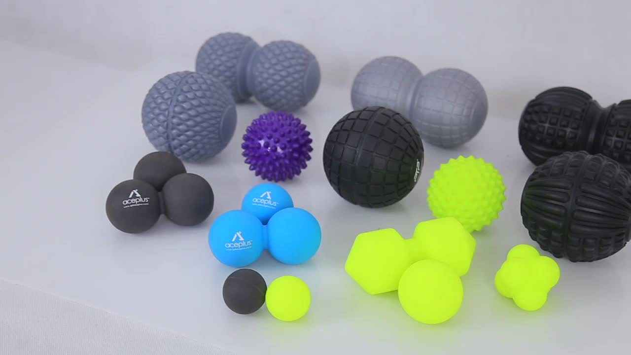 Blue Double Lacrosse Massage Ball Silicone Gym Peanut Ball