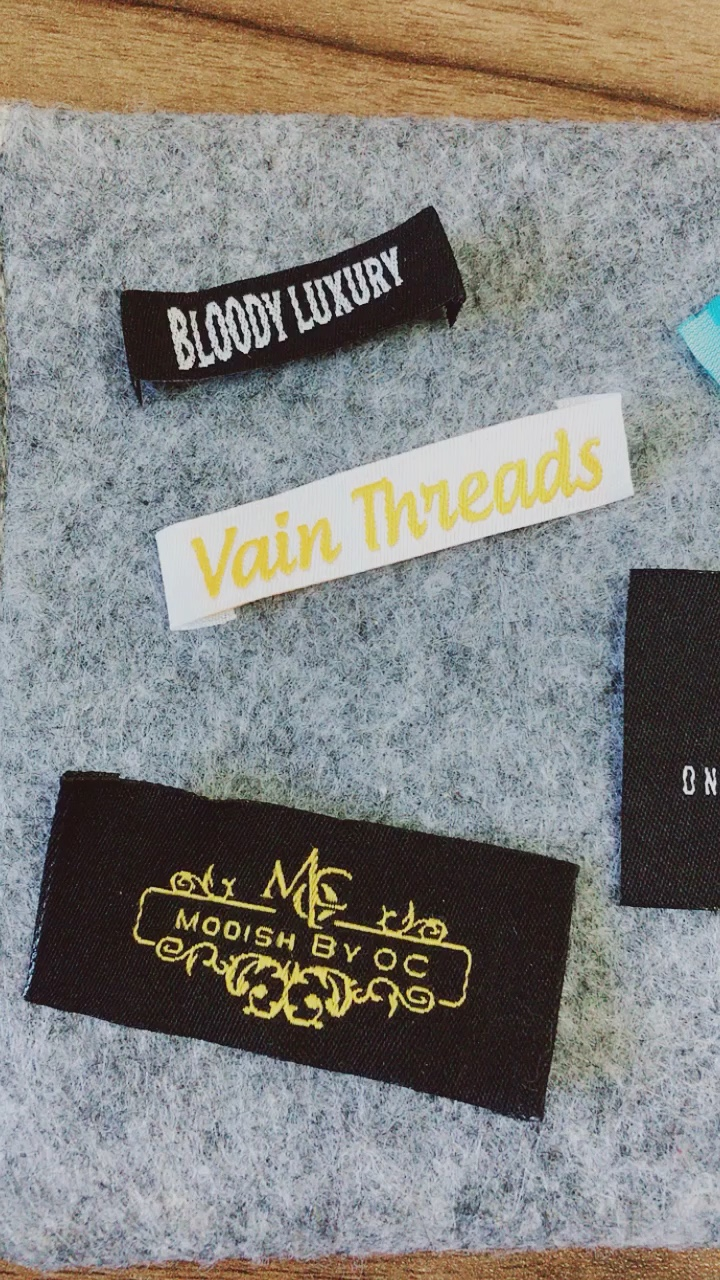 High density customized damask cotton clothing woven label