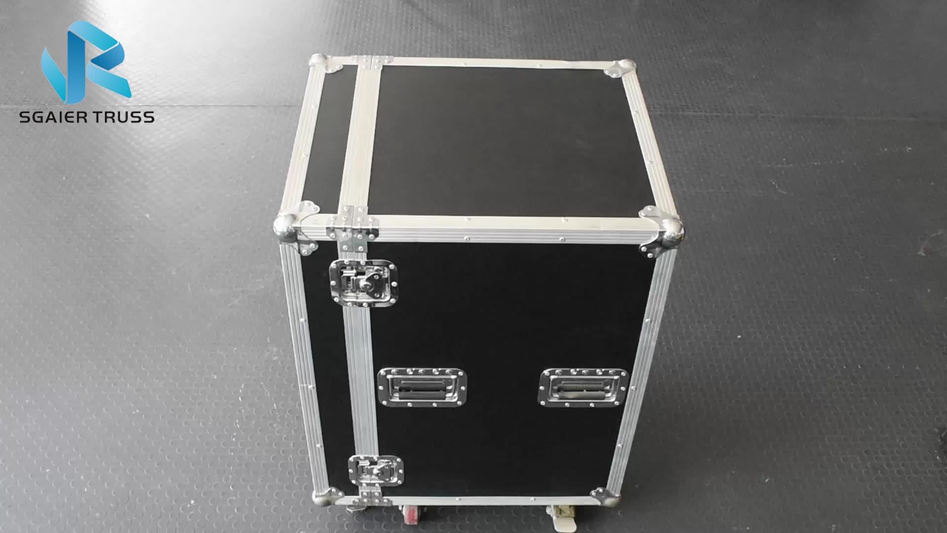 אלומיניום מסגרת דיקט dj אחסון שולחן קשה סחר להראות גלגלים טיסה מקרה עם מגירה/מקרה תיבה