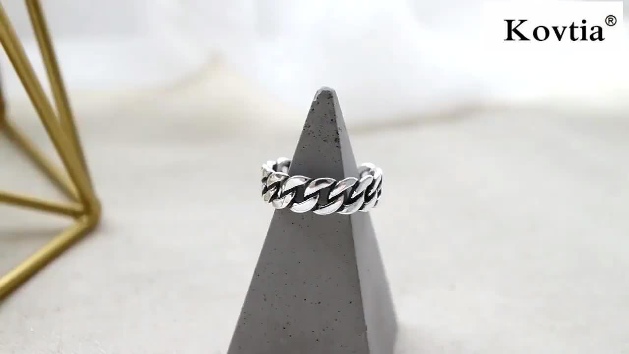 Antique 925 Sterling Silver Link Chain Design Cuff Rings For Women And Men