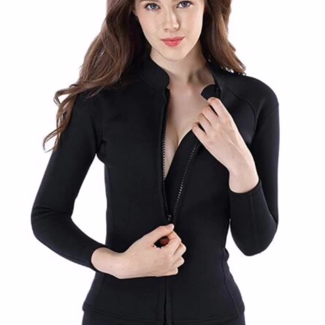 Promotional Women' Wetsuit Jacket Swimwear Diving Suits Keep Warm Front Zip Swimming for Water Sports
