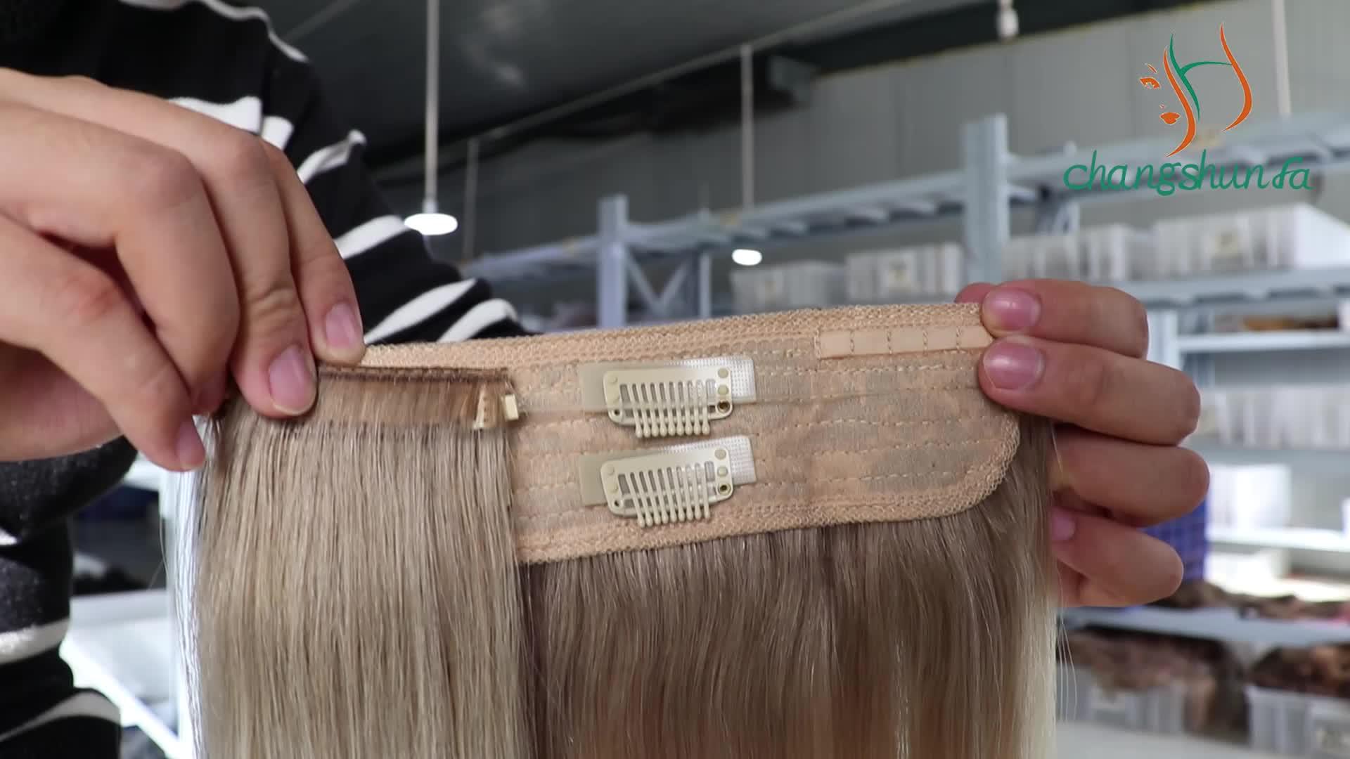 55 60 65 70 75 cm barato Aliexpress virgen flip cabello halo de trama de cabello humano