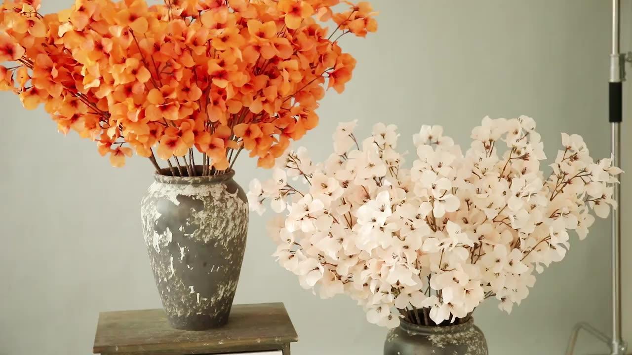 QSLHC-AF1238 สไตล์ใหม่ประดิษฐ์ดอกไม้ Faux Silk Cherry Blossom สาขาสำหรับงานแต่งงานตกแต่ง